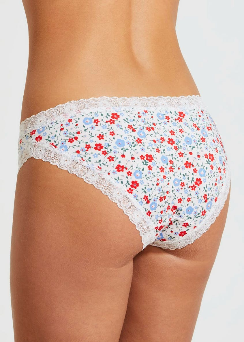 3 Pack Ditsy Floral Micro Brazilian Knickers