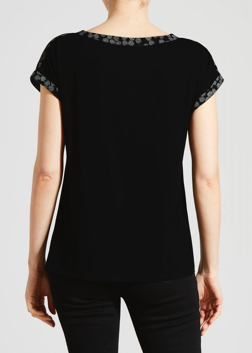 Printed Woven Front T-Shirt