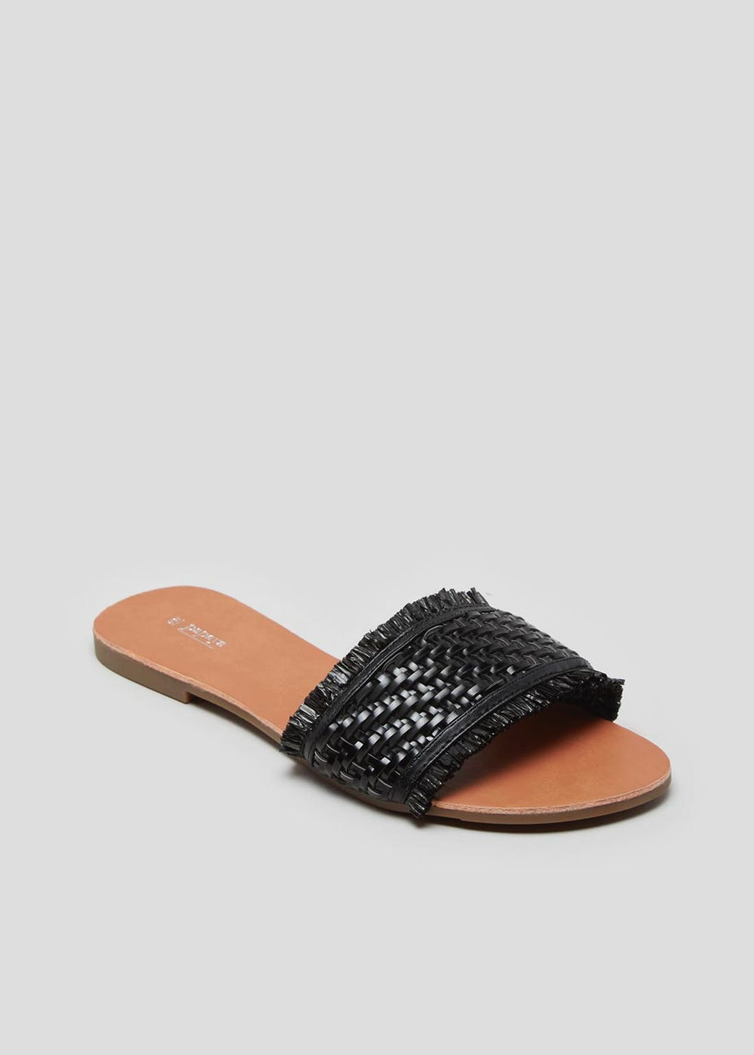 Black Woven Straw Flat Mule Sandals