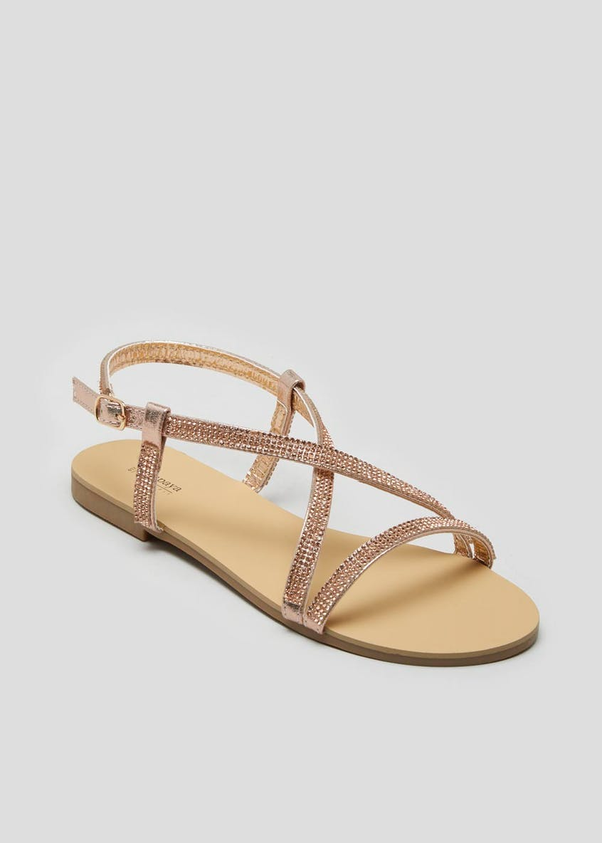 Wide Fit Diamante Sandals