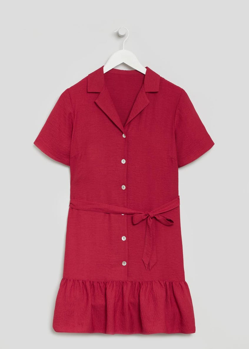 Revere Collar Peplum Hem Shirt Dress