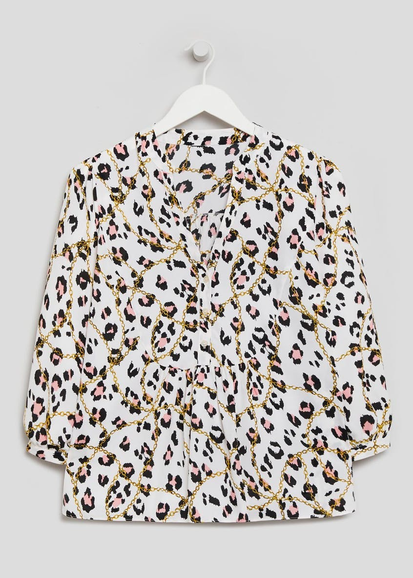 Chain & Leopard Print Smock Blouse
