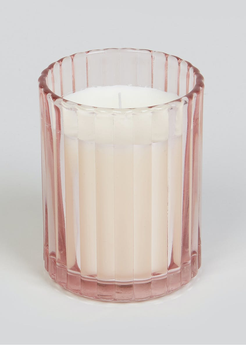 Peony Blossom & Rose Scented Glass Candle (10cm x 8cm x 8cm)