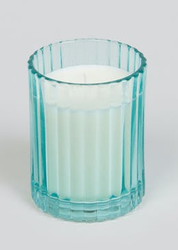 English Bluebell & Violet Scented Glass Candle (10cm x 8cm x 8cm)