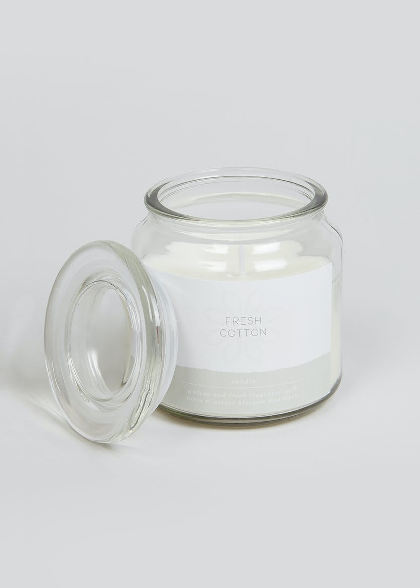 Fresh Cotton Glass Candle Jar (11cm x 10cm x 10cm)