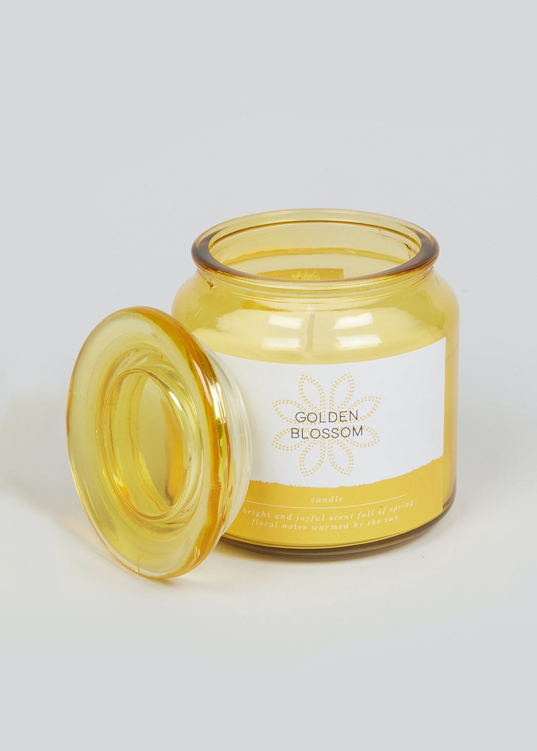 Golden Blossom Glass Candle Jar (11cm x 10cm)