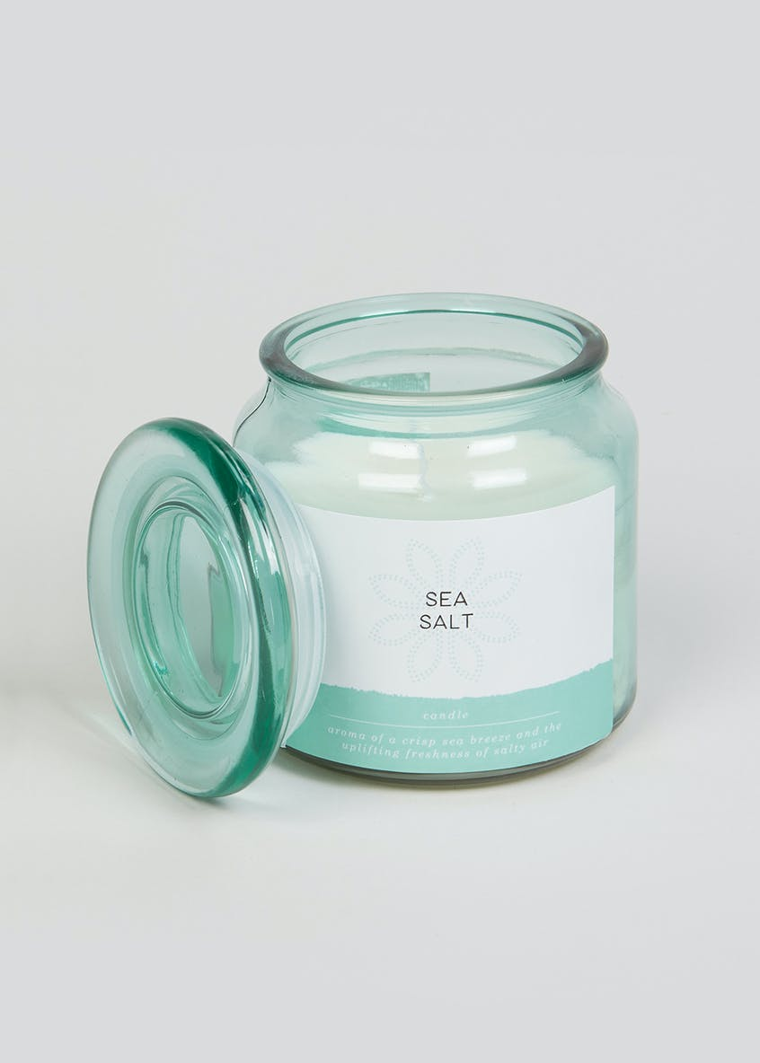 Sea Salt Glass Candle Jar (11cm x 10cm x 10cm)