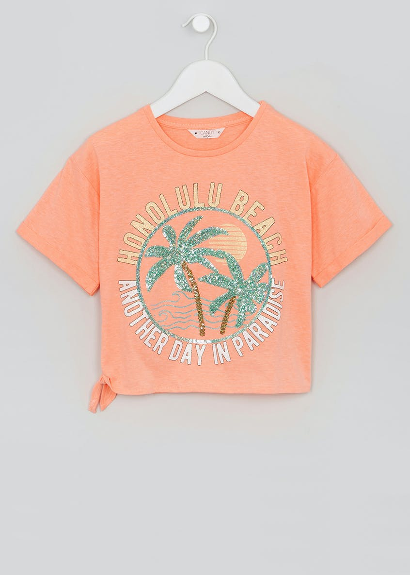 Girls Candy Couture Sequin Palm Tree T-Shirt (9-16yrs)