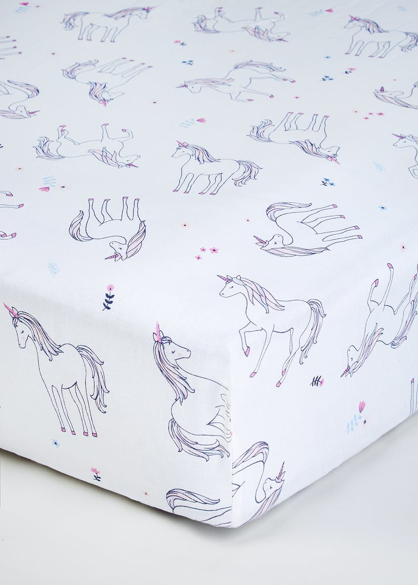 Kids 100  Cotton Unicorn Fitted Sheet