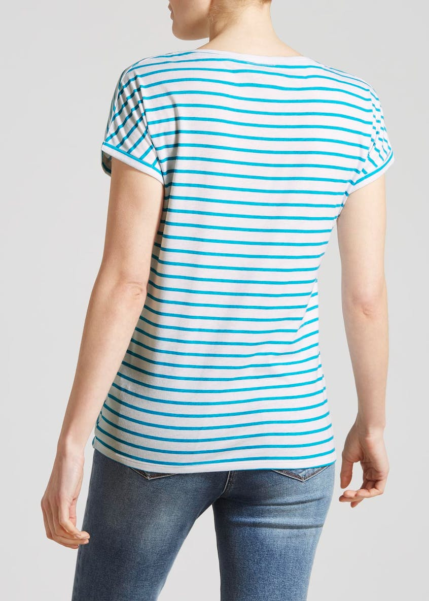 Stripe Slogan T-Shirt