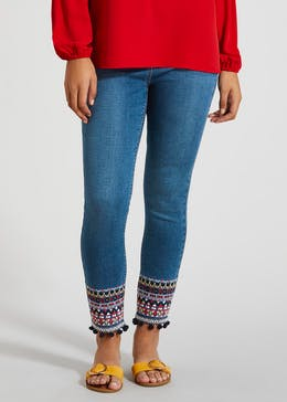 April Embroidered Hem Super Skinny Ankle Grazer Jeans