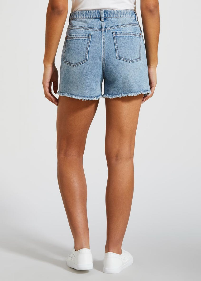 Embroidered Denim Shorts