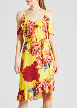 Soon Floral Cold Shoulder Midi Dress