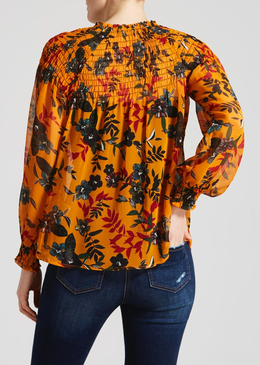 Floral Shirred Tie Neck Blouse