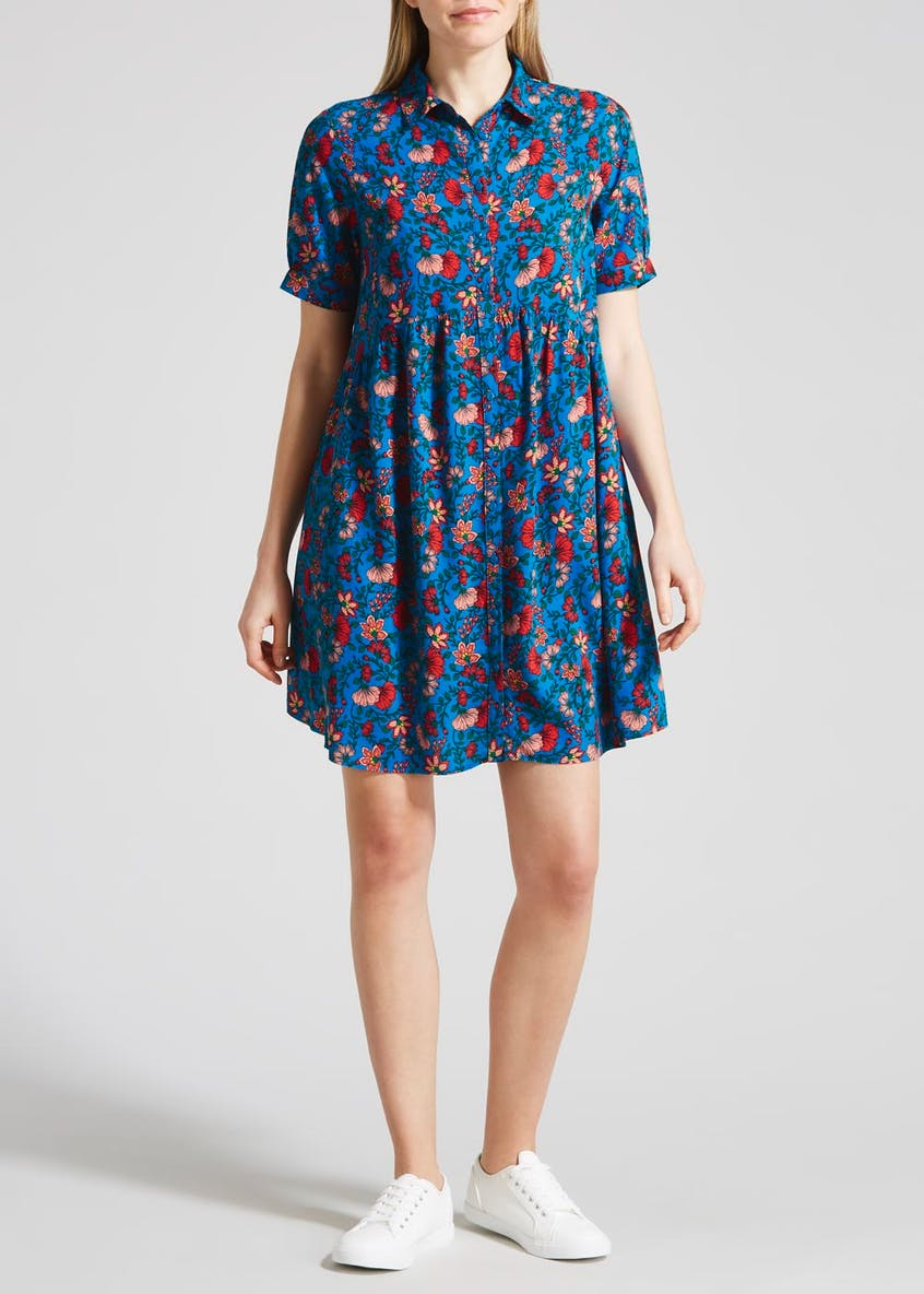 Floral Oversized Smock Shirt Dress