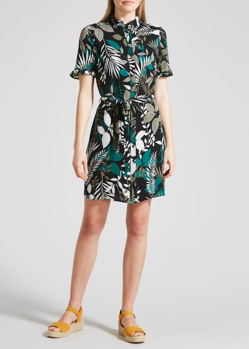 Palm Print Viscose Shirt Dress