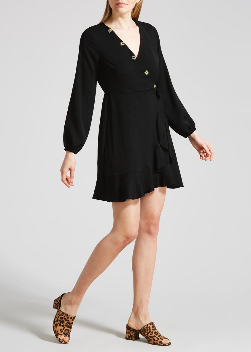 Button Wrap Dress