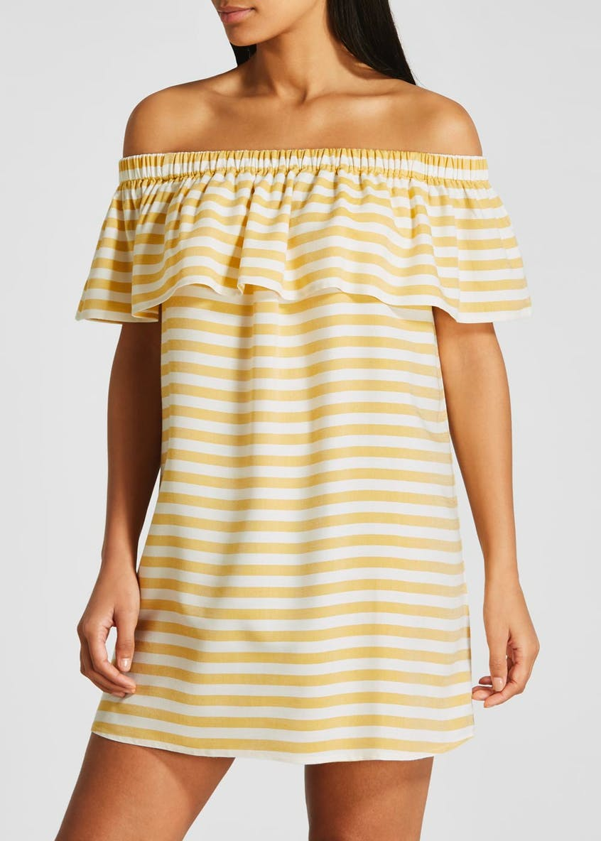 Stripe Frill Bardot Dress
