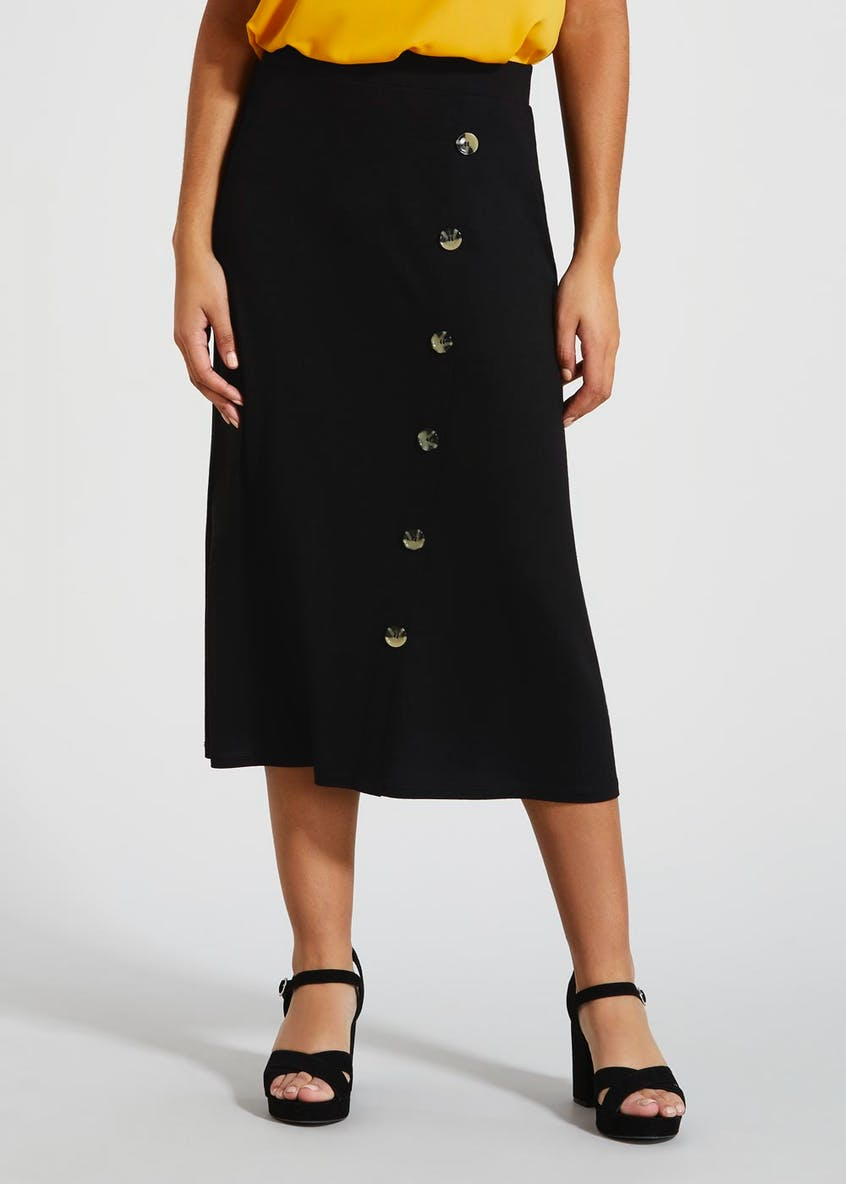 Side Button Jersey Midi Skirt