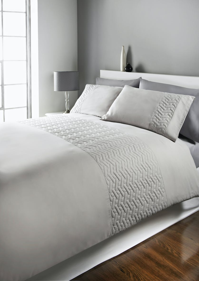 Geometric Quilted Panel Pinsonic Duvet Cover