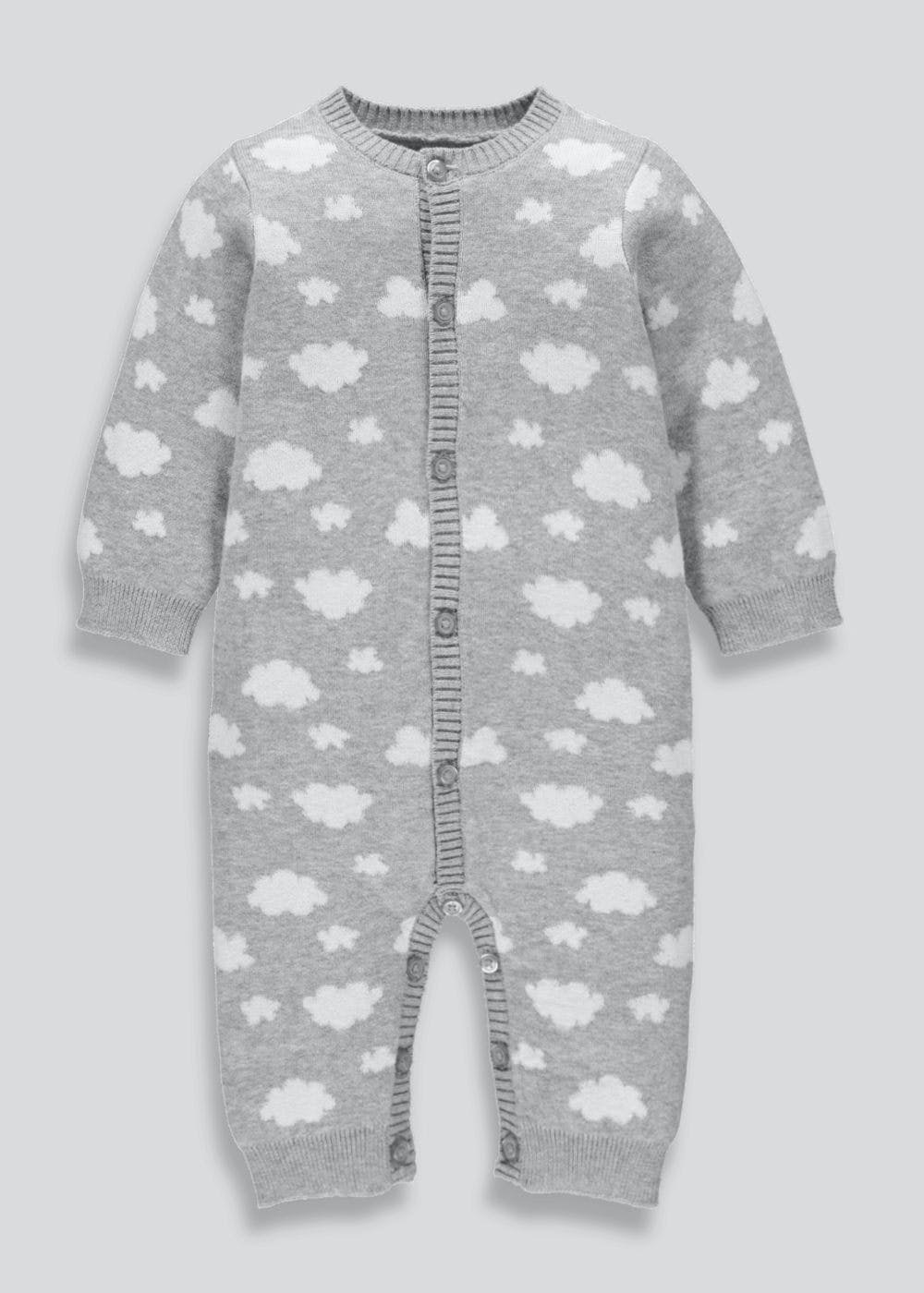 9187c16e64cc Unisex Cloud Knitted Romper (Tiny Baby-18mths) – Grey – Matalan