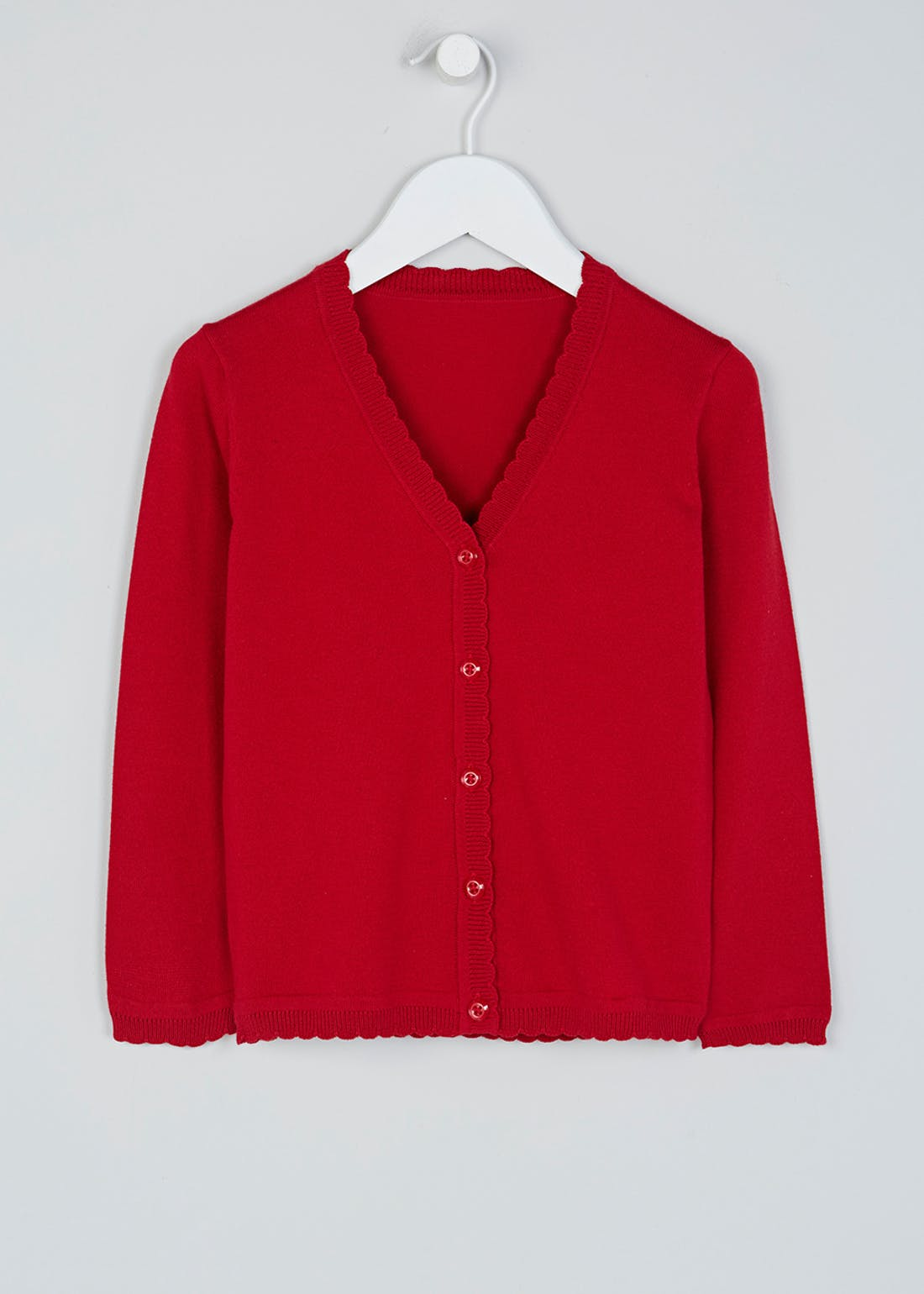 Girls Red Scallop Edge School Cardigan (3-13yrs)