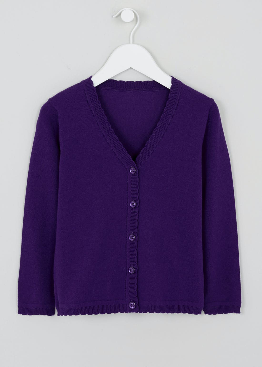 Girls Purple Scallop Edge School Cardigan (3-13yrs)