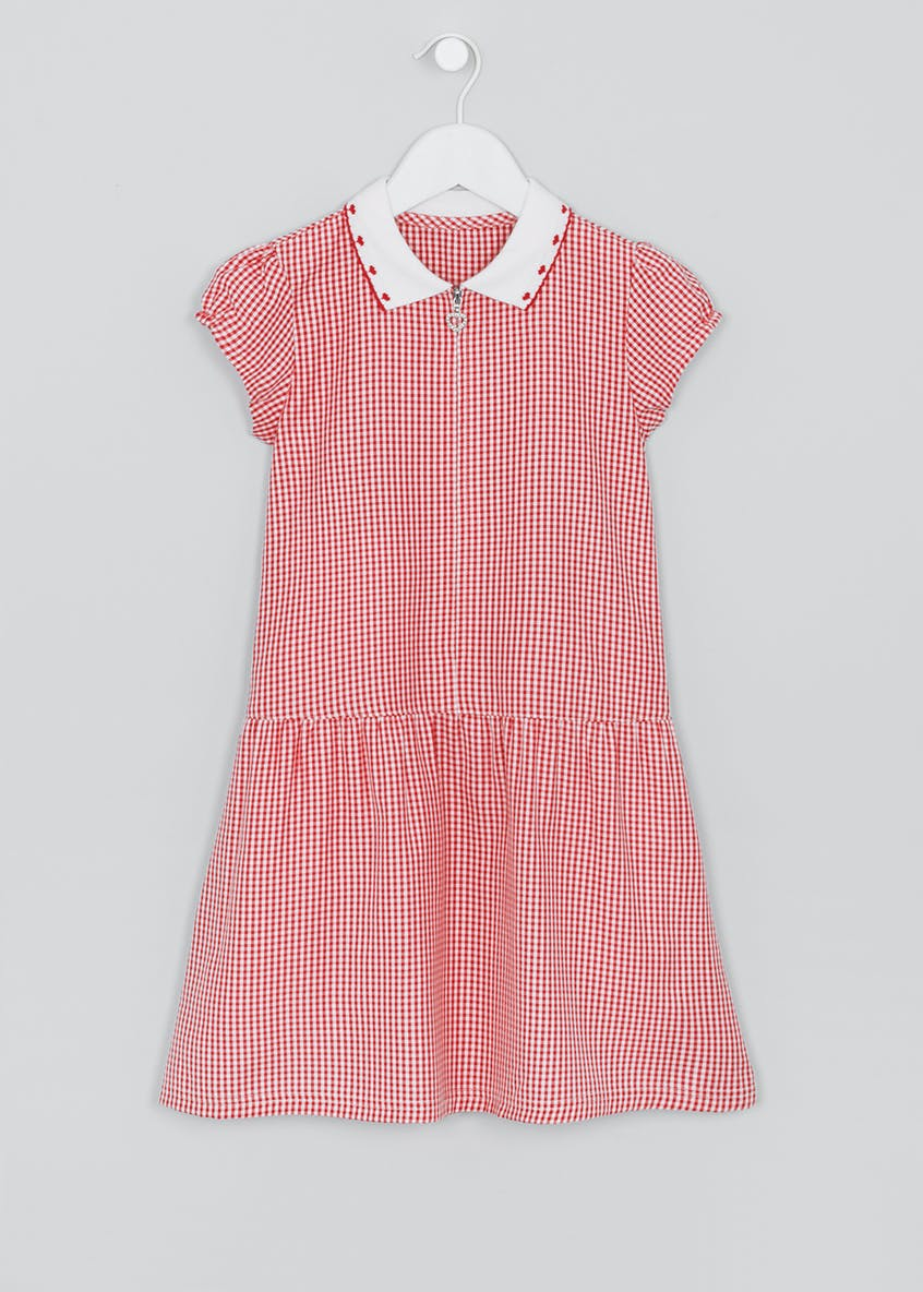 Girls Generous Fit Knit Collar Gingham School Dress (3-14yrs)