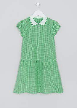 Girls Generous Fit Green Gingham Short Sleeve School Dress (3-14yrs)