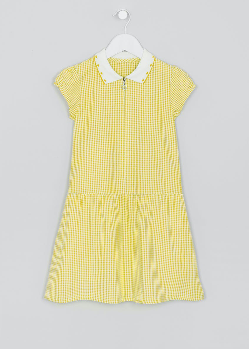 Girls Knit Collar Generous Fit Gingham School Dress (3-14yrs)