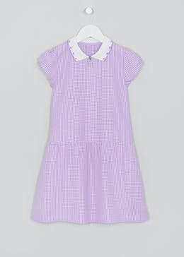 Girls Generous Fit Knit Collar Gingham School Dress (4-13yrs)