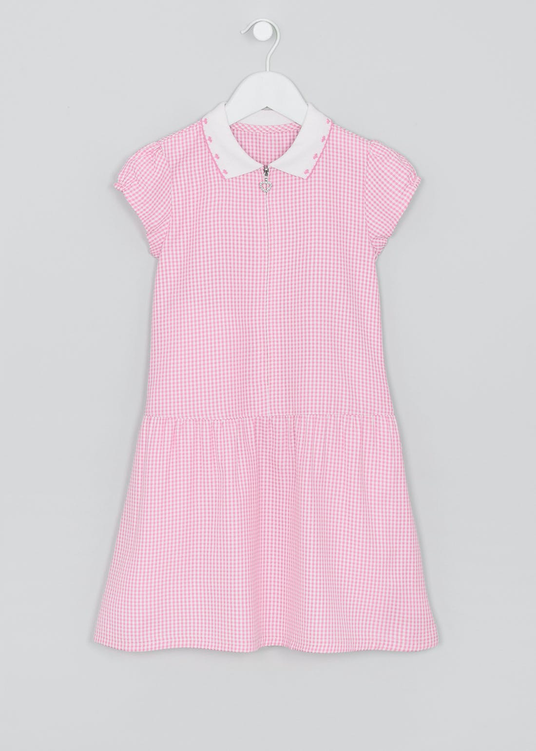 Girls Pink Generous Fit Knit Collar Gingham School Dress (3-14yrs)