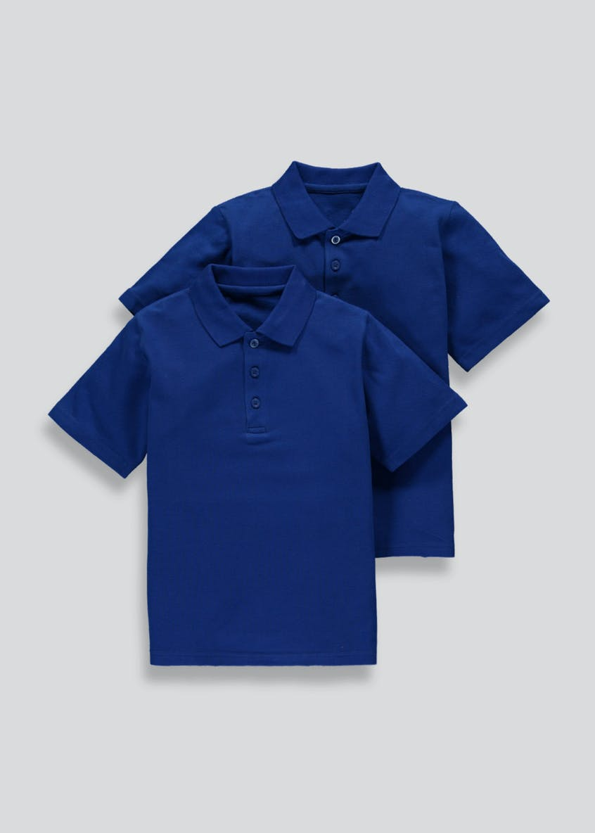 Kids 2 Pack Blue School Polo Shirts (3-16yrs)