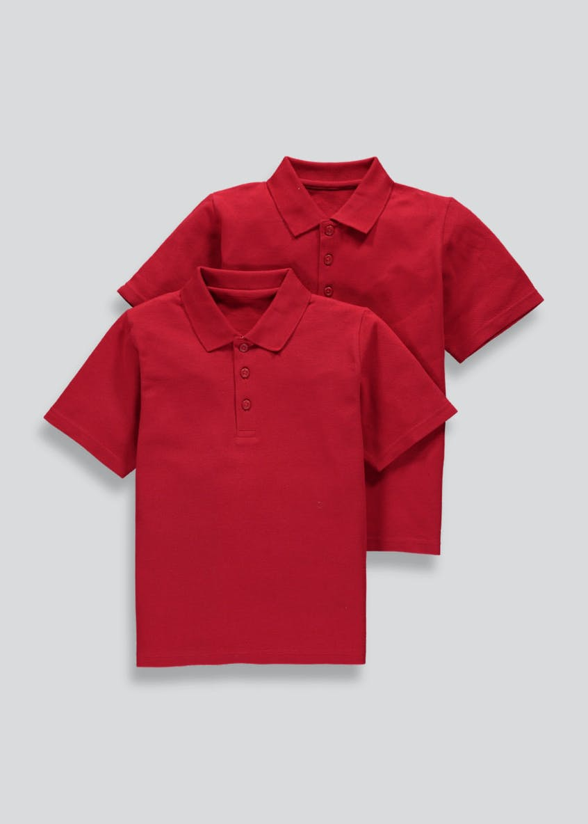 Kids 2 Pack Red School Polo Shirts (3-16yrs)