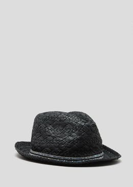 Diamante Trim Straw Hat