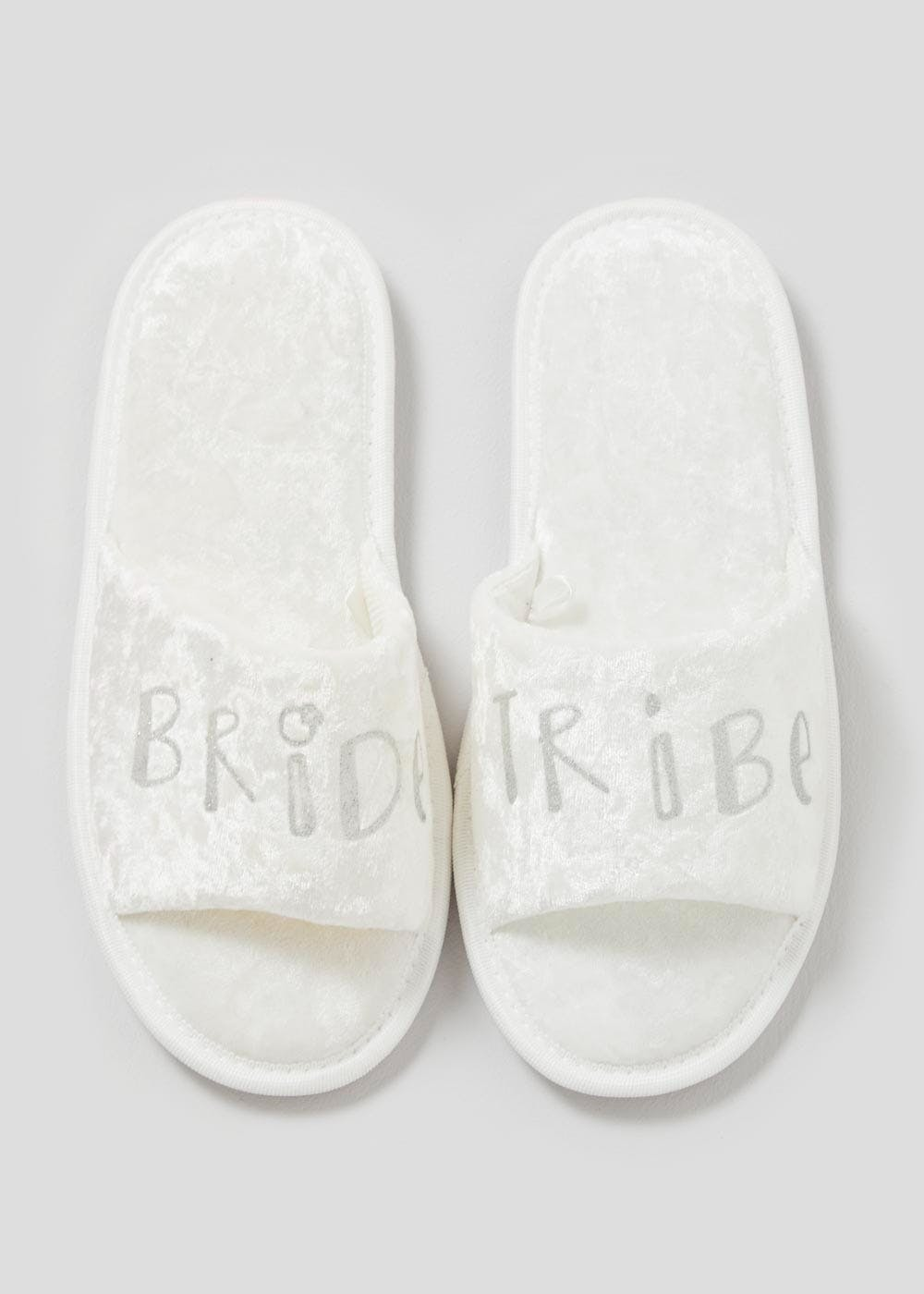 18e8861d3c13 Bride Tribe Velour Slider Slippers – White – Matalan