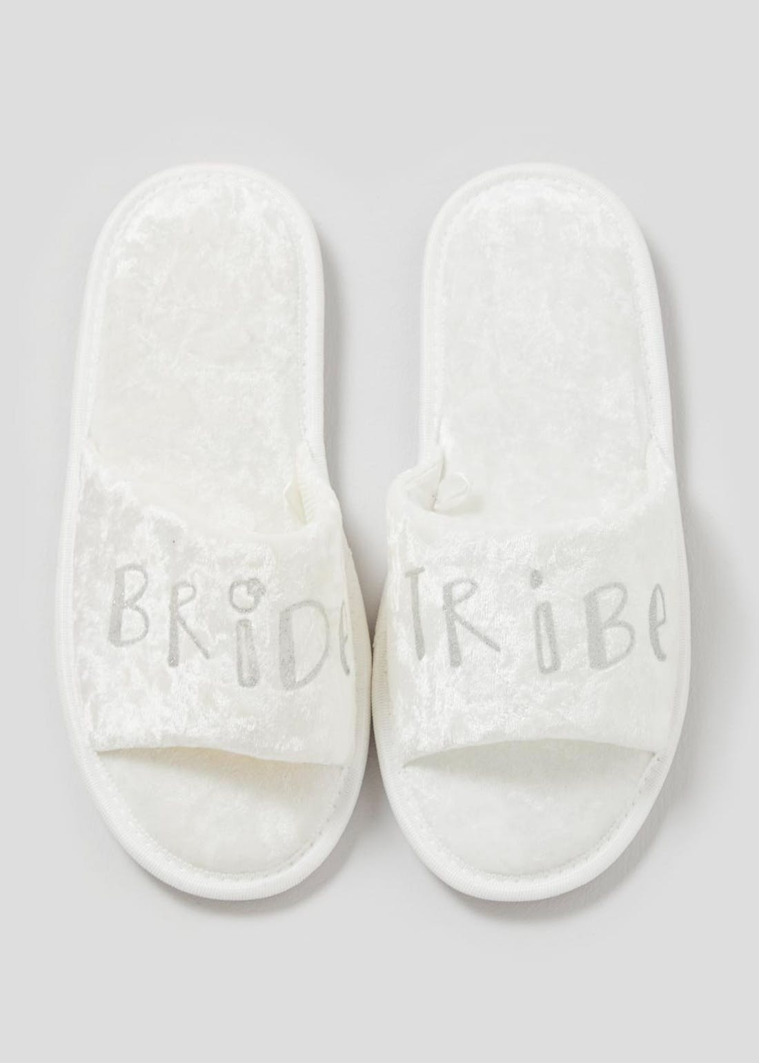 White Velour Bride Tribe Slider Slippers