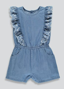 Girls Embroidered Denim Playsuit (9mths-6yrs)