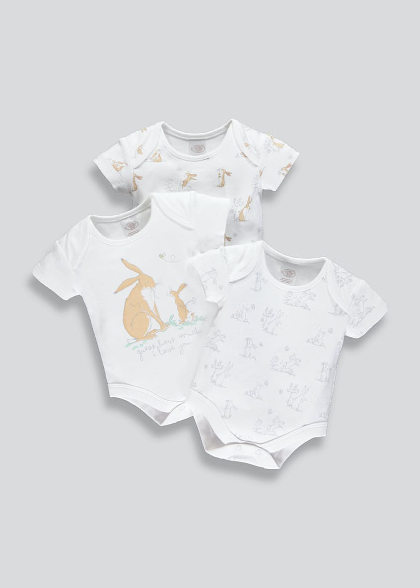 Unisex 3 Pack Guess How Much I Love You Bodysuits (Newborn-6mths)
