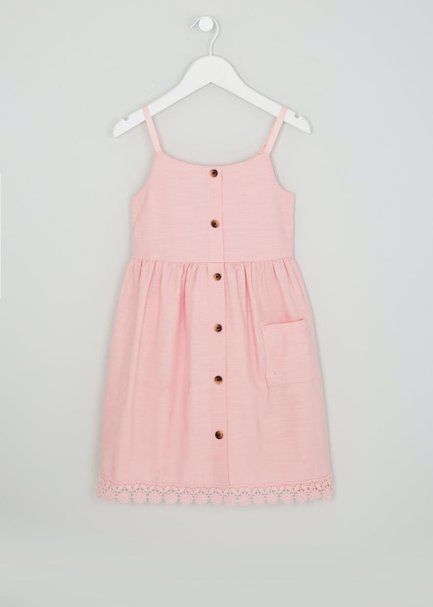Girls Button Lace Trim Dress (4-13yrs)