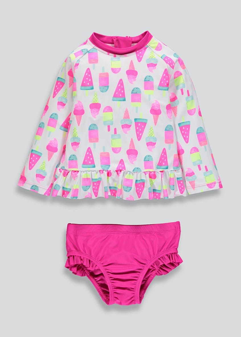 Kids 2 Piece Ice Cream Long Sleeve Surf Suit (3mths-6yrs)