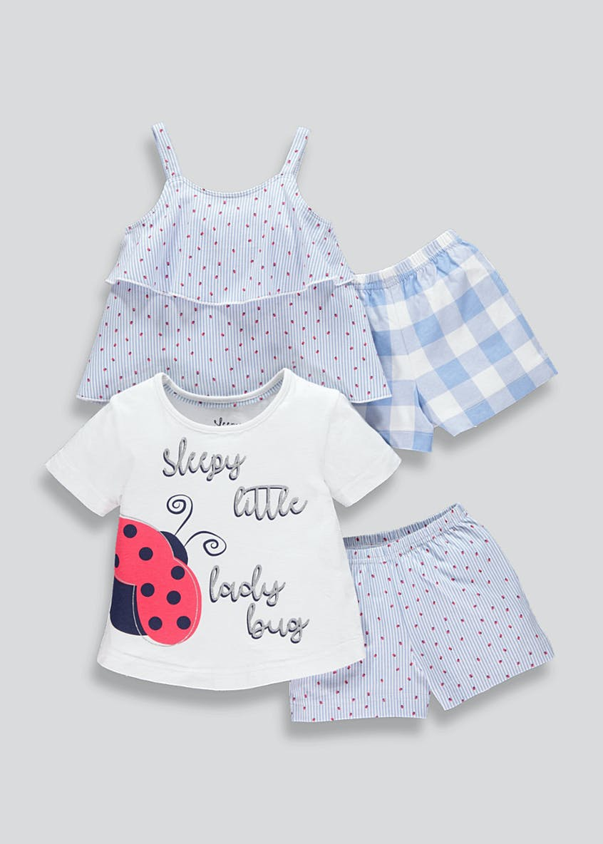 Girls 2 Pack Lady Bug Short Pyjama Set (9mths-5yrs)