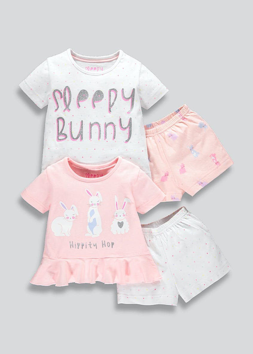 Girls 2 Pack Bunny Short Pyjama Set (9mths-5yrs)