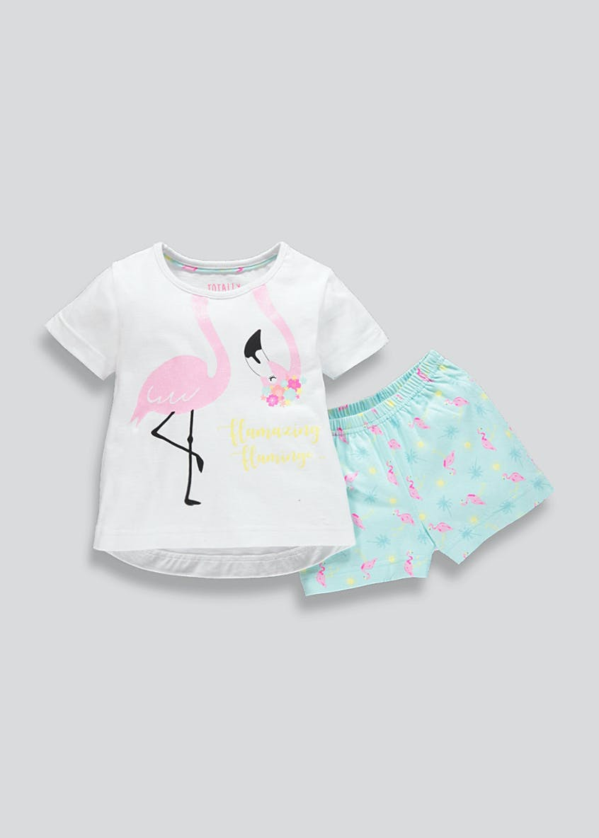 Girls Flamingo Short Pyjama Set (9mths-5yrs)