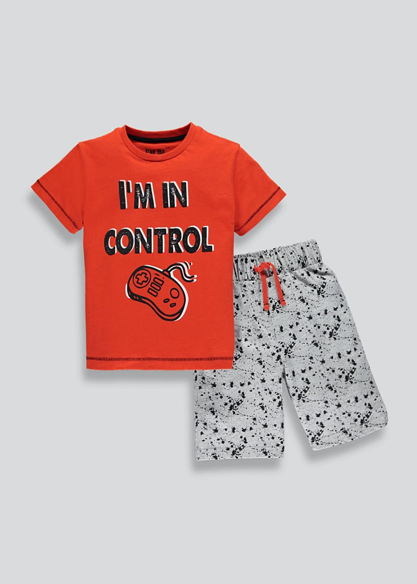 Boys Control Slogan Short Pyjama Set (4-13yrs)