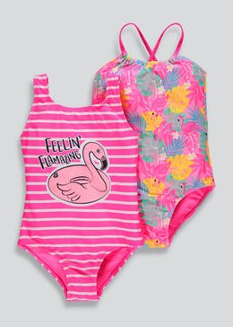 Girls 2 Pack Flamingo Floral Swimming Costumes (4-13yrs)