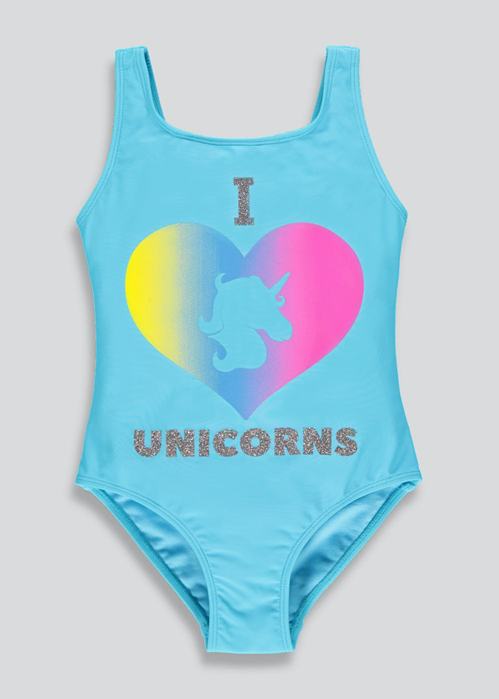 e1c744a2b39e7 Girls Unicorn Slogan Swimming Costume (4-13yrs) – Turquoise – Matalan