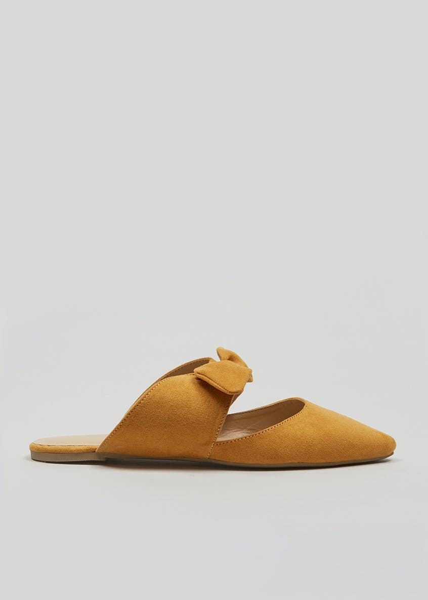 Bow Pointed Flat Mules