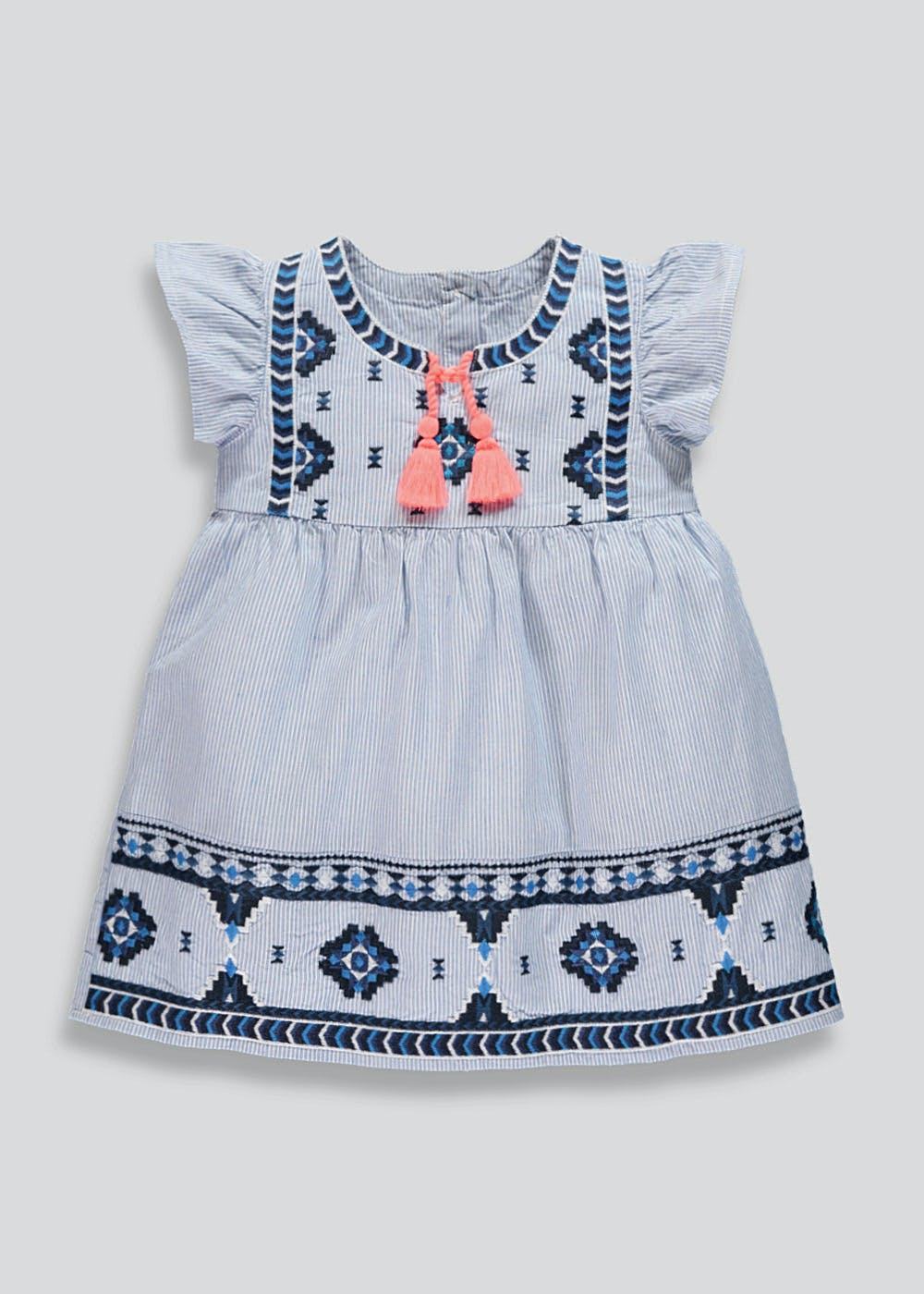 The Cheapest Price Next Girls Soft Blue White Striped Embroided Dress Rabbits Pockets Girls' Clothing (0-24 Months) 12-18mths Cheap Sales 50%