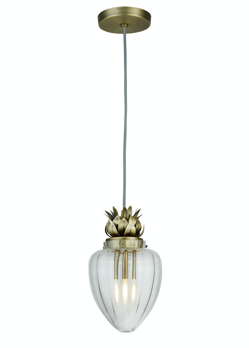 Pineapple glass pendant light h130cm x w16cm